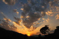 Cloud paradise. Sunset at the valley of heaven Stock Image