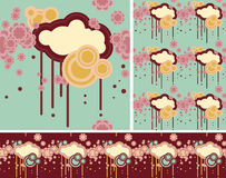 Cloud pattern (). Beautiful background pattern with cloud and flowers Royalty Free Stock Photography