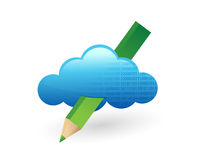 Cloud and pencil. illustration design Stock Image