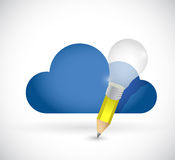 Cloud and pencil light bulb illustration Stock Photo