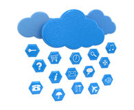 Cloud and pictograms (clipping path included). Cloud and pictograms. Image with clipping path Stock Photography