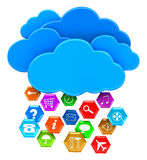 Cloud and pictograms (clipping path included). Cloud and pictograms. Image with clipping path Royalty Free Stock Image