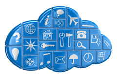 Cloud and pictograms. Image with clipping path Stock Images