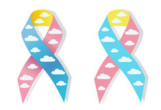 Cloud pink and blue ribbon awereness Royalty Free Stock Photos