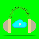Cloud play with head phone Royalty Free Stock Photos