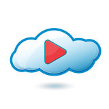Cloud Play Icon Symbol Stock Image