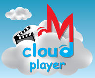 Cloud player concept illustration. Player concept based on a cloud computing idea vector illustration