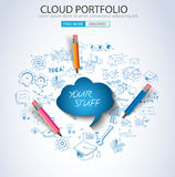 Cloud Portfolio concept with Doodle design style Royalty Free Stock Image