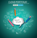 Cloud Portfolio concept with Doodle design style. On line marketing, social media,creative thinking. Modern style illustration for web banners, brochure and Royalty Free Stock Photography
