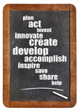 Cloud of positive words on blackboard. Plan, act, create, inspire, share - cloud of positive and motivational words on an isolated vintage blackboard royalty free stock images