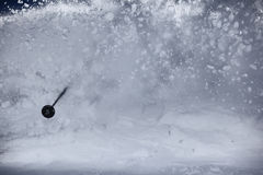 Cloud of powder snow. After a big turn of skier Royalty Free Stock Photos