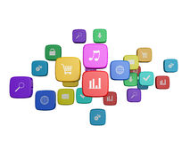 cloud of program icons isolated Royalty Free Stock Images