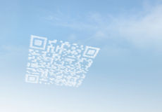 Cloud QR Code. Mobile Marketing via Cloud Computing Royalty Free Stock Photo