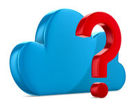 Cloud and question on white background Royalty Free Stock Images