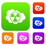 Cloud and radioactive sign set collection. Cloud and radioactive sign set icon in different colors isolated vector illustration. Premium collection Stock Photos