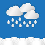 A cloud with rain drop over water or sea against blue sky backgr. Ound in rainy day of rain season,paper style background royalty free illustration
