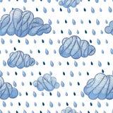 Cloud with rain drop pattern. Weather background. Cloud with rain drop seamless pattern. Vector doodle illustration Stock Illustration