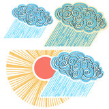 Cloud with rain isolated for design.Vector symbol  Royalty Free Stock Images
