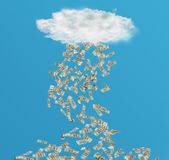 Cloud with Rain of Money. Composite image of cloud with rain of money with bright blue sky on the background stock images
