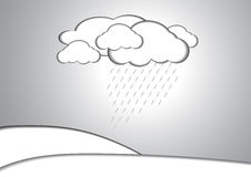 Cloud and rain paper style background Royalty Free Stock Image