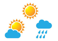 Cloud, Rain and Sun. The icon of Sun, Cloud and Cloud with rain Royalty Free Stock Photos