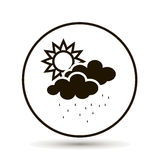 Cloud with rain and sun. Weather forecast. stock image