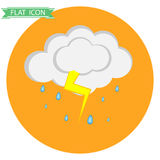 Cloud with rain and thunder. Flat design, vector illustration, vector royalty free illustration