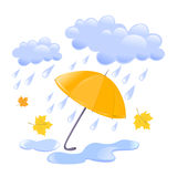 Cloud, rain and umbrella. Vector illustration Stock Photos