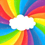 Cloud on rainbow background. Cartoon cloud on sparkling shiny handdrawn rainbow background vector illustration