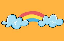 Cloud and rainbow. Hand drawn illustration for postcard, t-shirts, print, stickers on orange background.