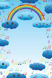 Cloud rainbow love music note frame royalty free illustration