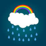 Cloud with rainbow and rain. Vector illustration Royalty Free Stock Images