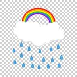 Cloud with rainbow and rain. Vector illustration Stock Photography