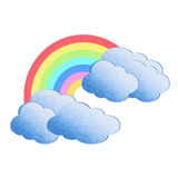 cloud and rainbow on white background Stock Photos