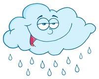 Cloud With RainDrops. Blue cloud with raindrops cartoon character Stock Image