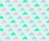 Cloud and raindrops pattern with mint background royalty free illustration