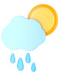 Cloud with raindrops and sun Royalty Free Stock Photo