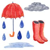 Cloud with raindrops, umbrella, rubber boots, hand drawn watercolor illustration