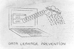 Cloud raining binary code out of laptop, data leakage prevention Stock Photography