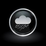 Cloud raining icon inside round silver and black emblem royalty free illustration