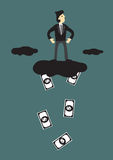 Cloud Raining Money Conceptual Cartoon Vector Illustration Stock Image