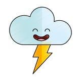 Cloud with ray climate kawaii character. Vector illustration design Stock Photos
