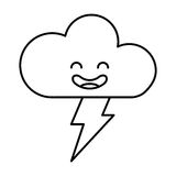 Cloud with ray climate kawaii character. Vector illustration design Royalty Free Stock Photography