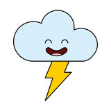 Cloud with ray climate kawaii character. Vector illustration design Stock Photography
