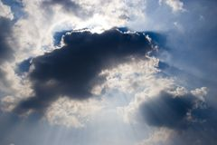 Cloud Rays. Rays coming through the clouds Stock Images