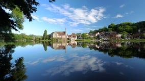 Cloud reflections in Dordogne River at Beaulieu sur Dordogne, Correze, Limousin stock footage