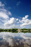 Cloud reflections in the river. Stock Images