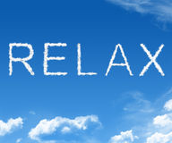 Cloud relax. Clouds forming the word relax in the sky Royalty Free Stock Photography