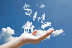 Cloud Responsibility sign. Hand on sky Stock Photography
