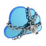 Cloud säkrat med ett lås royaltyfri illustrationer